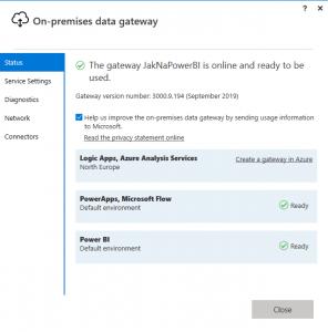 Status připojených aplikací na bránu dat