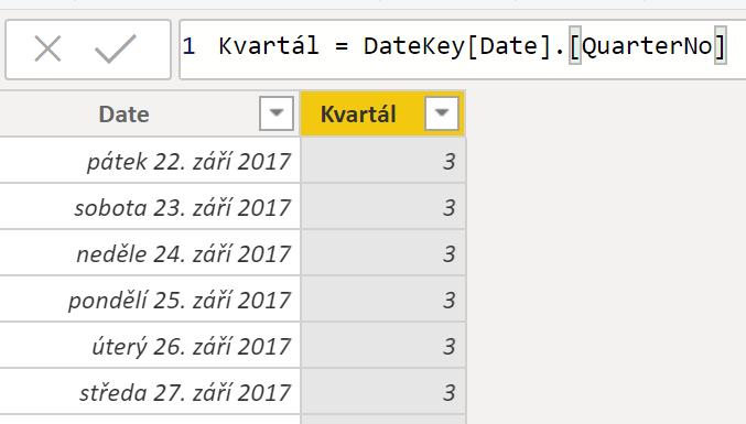 Vyvolání funkce Kvartál bez označení z Time Intelligence Dimenze