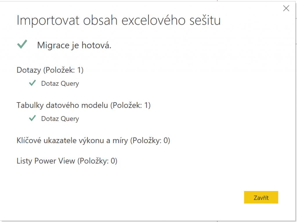 Potvrzení migrace dat z Excelu do Power BI