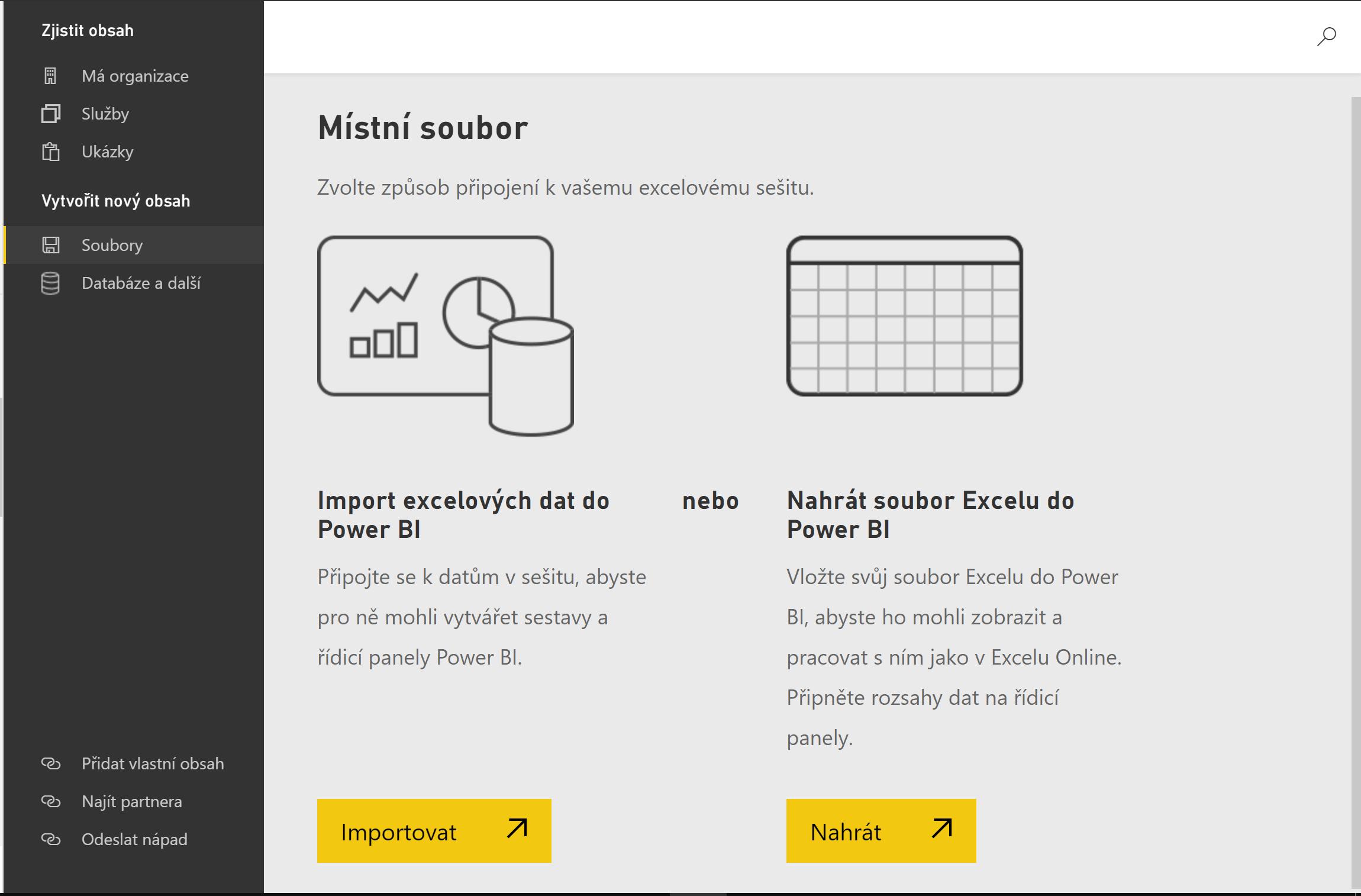 Power BI Service nahrání dat