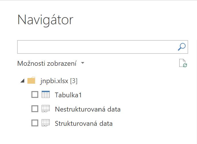 Navígátor pro Excel rozhraní v Power BI
