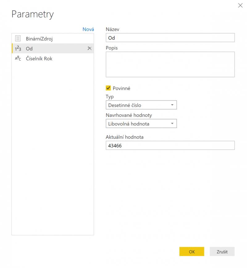 Nastavení parametru v Power Query Editor rozhraní
