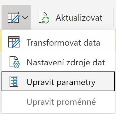 Upravit Parametry v rozhraní Power BI Desktop