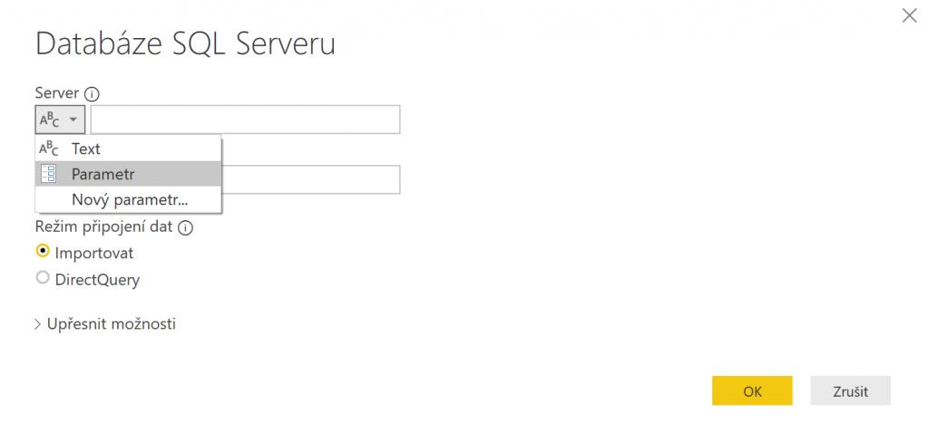 Vložení parametru jako odkazu pro databázi SQL serveru