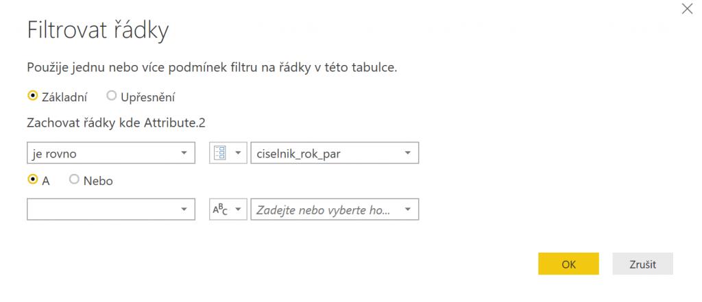 Využití parametru při filtrování řádků