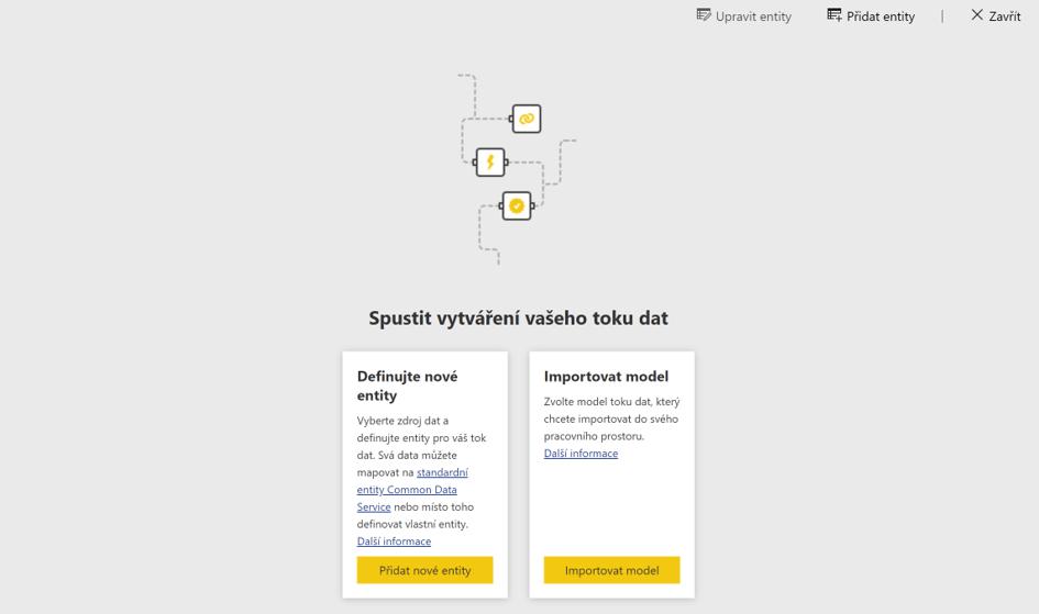Dataflow vytvoření Entity nebo importování modelu