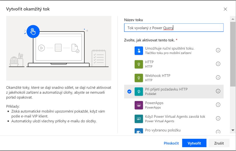 Vytvoření toku Microsoft Automate se spouštěčem HTTP Request