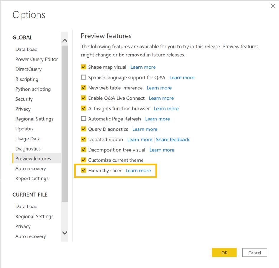 Zpřístupnění hierarchického průřezu v nastavení Preview features Power BI