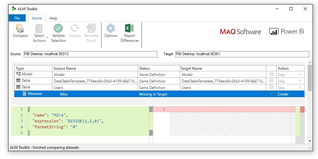 ALM Toolkit porovnání souborů