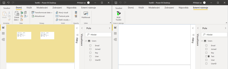 ALM Toolkit zdrojový a cílový Power BI soubor
