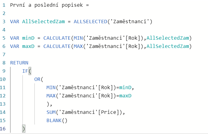 DAX funkce na zobrazení prvního a posledního popisku