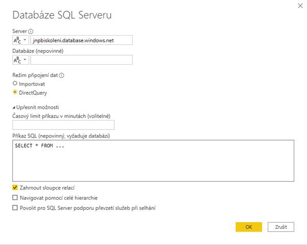 Napojení na databázový server
