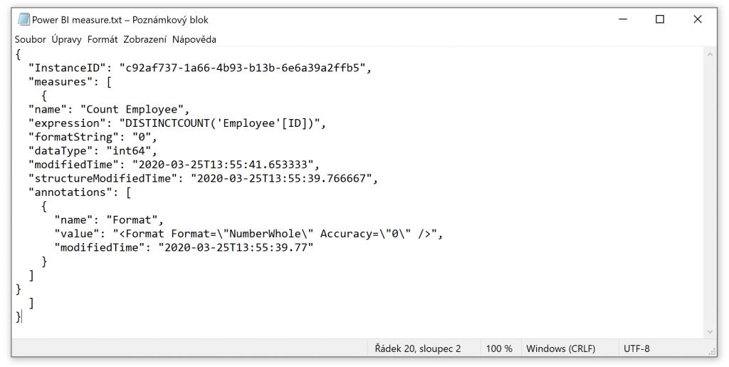Power BI measure JSON
