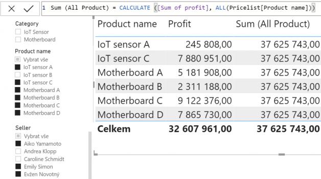 All parametr jeden sloupec ukázka filtru na stejném sloupci