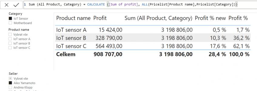 All výpočet profit, parametr více sloupců