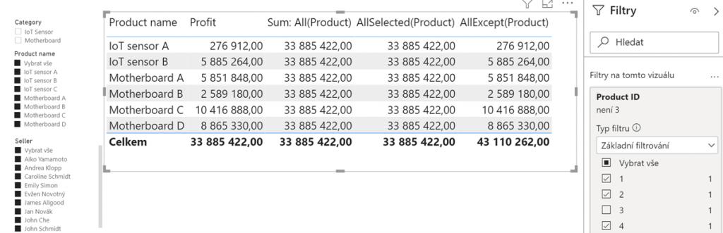 AllExcept filtr nad jiným sloupcem