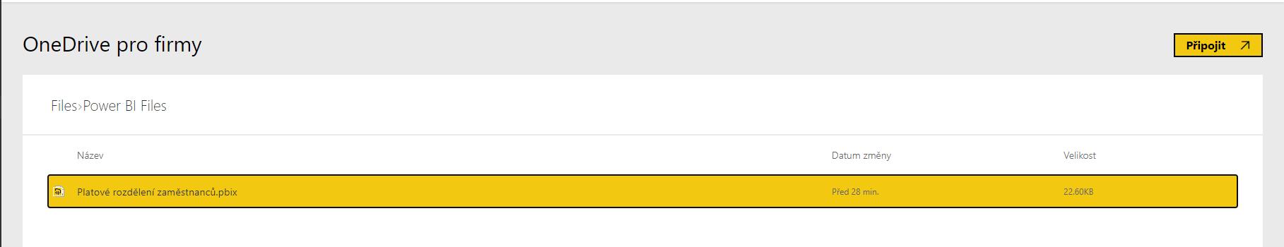 Připojení PBIX souboru z OneDrive do Power BI Service