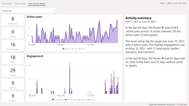 Stránka Team activity details