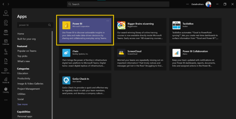 Power BI aplikace v Microsoft Teams