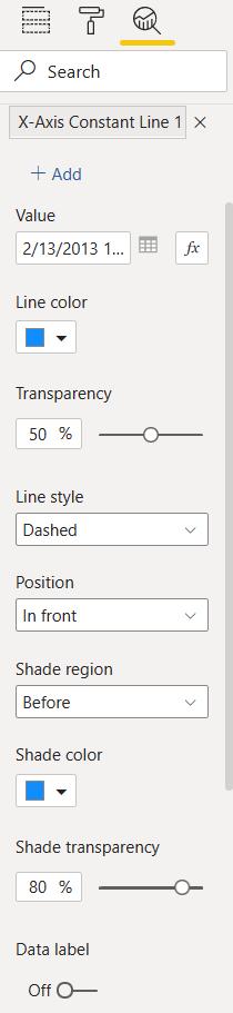 Panel pro nastavení Xové konstantní linky